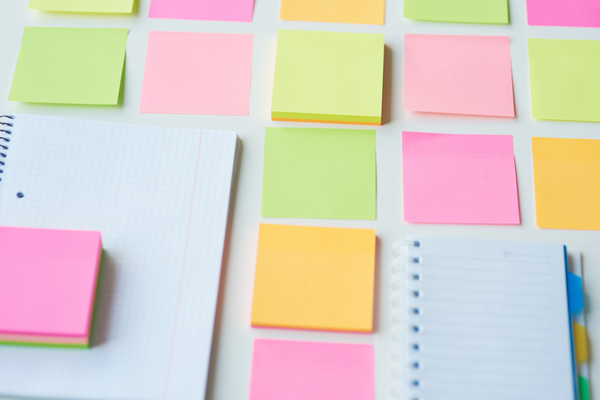 Sticky notes on the white background